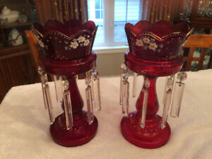 PAIR ANTIQUE RUBY RED GLASS MANTLE LUSTERS *PRICE REDUCED *