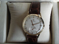 14k.585 SOLID GOLD WITH ALLIGATOR STRAP OMEGA WATCH(ORIGINAL)