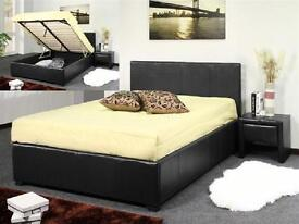 **SUPER SALE**DOUBLE STORAGE LEATHER BED WITH LUXURY MEMORY FOAM MATTRESS - BRAND NEW - 2 COLOURS