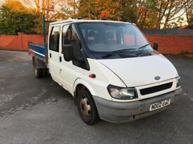 Ford Transit Tipper 2.4TDI 2002MY 350 LWB. NO VAT. 6 SEATS. MOT, 12/2018