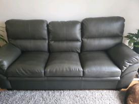 3+ 2 grey faux leather suite