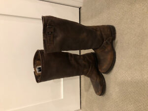 Frye Veronica Slouch Brown Leather Boots