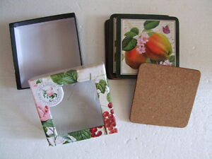 Brand new in box fruits theme cork backed set of 6 coasters London Ontario image 7