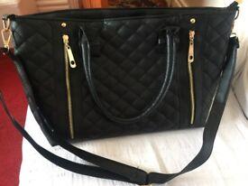 Ladies black leather Designer style celebrity shoulder bag