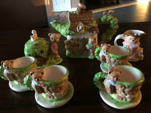 Long Rich Ceramic Teddy Bear Complete Tea Set