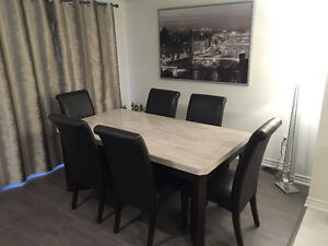 Brand New Marble Table with Oak and Leather Chairs from LEONS
