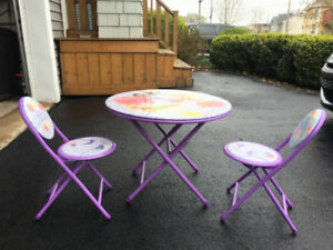 Kids table with 2 chairs - Purple with Fairies