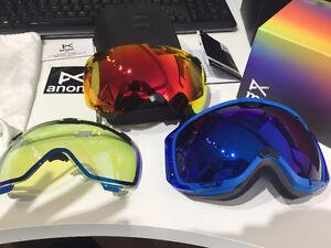 Anon M1 Blue Colbalt & Red Solex Snowboarding Goggles