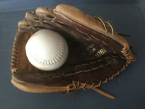 """As New, Rawlings 10 1/2"""" Cowhide Leather Softball Glove and Ball"""