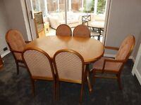 Sutcliffes dining table and 6 chairs