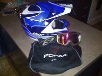 Casque et lunettes motocross ou 4 roues