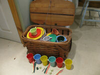 Antique Picnic Basket with Dishes