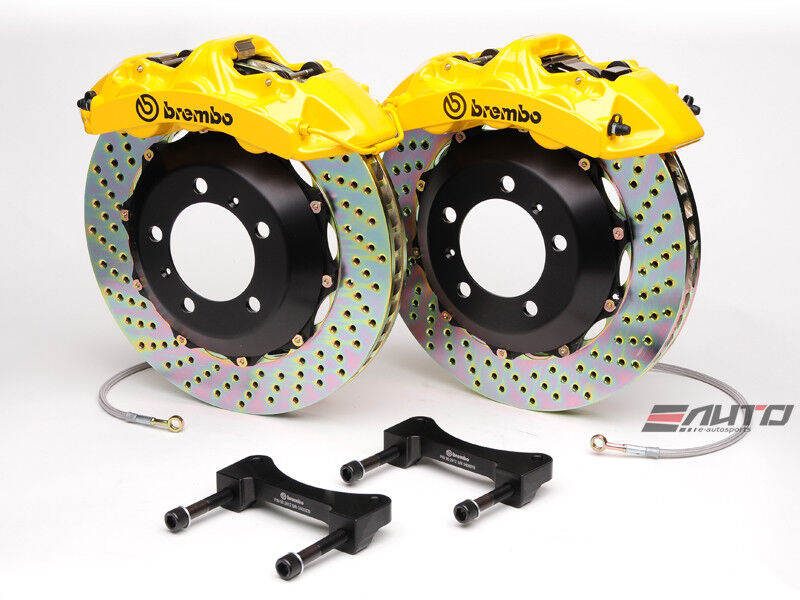 Brembo Front Gt Brake Bbk 6piston Caliper Yellow 355x32 Drill Disc Mustang 94-04