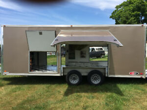 20 FT X 8.5 FT ALUMINUM FRAMED ENCLOSED 5 DOOR ATC CAR HAULER.