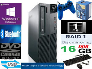 Lenovo 16Gb RAM Intel i7-4770 RAID1 2TB M93P Win10 Desktop PC