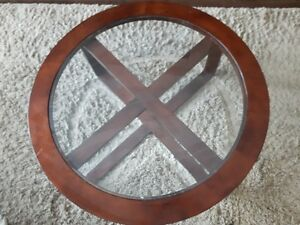Beautiful Round Coffee Table with Center Smoked Glass For Sale