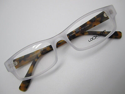 large man EYEGLASSES FRAME 55 matte clear brown plastic 1093 acetate classic NEW