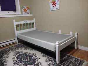 Vintage Wooden Bed, Mattress & Boxspring. Chalk Painted & Waxed