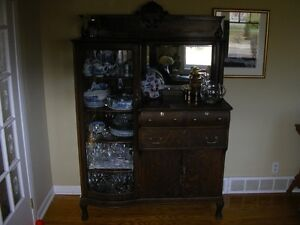 Antique Curved Glass China Cabinet/ Sideboard w/mirror