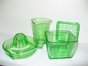 GREEN DEPRESSION GLASS JUICER MEASURING CUP AND BUTTER DISH