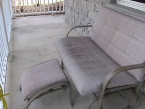 Rocking patio bench seat and foot stool
