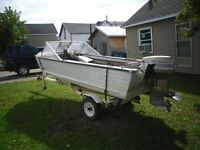 14.5' SPRINBOK ALUMINUM BOAT WITH 55 HP MOTOR AND TRAILER