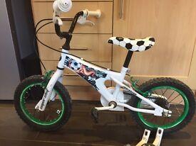 "Boys 14"" football bike with stabilisers"