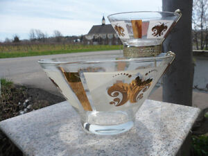 Vintage Mid Century Anchor Hocking Chip & Dip Bowls Clear White