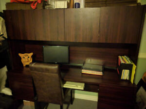 Executive credenza and a desk with cupboards/file drawers
