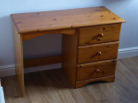 PINE DESK / DRESSING TABLE / CHEST OF DRAWERS. MULTIFUNCTIONAL, SOLID PINE TOP & DR FRONTS