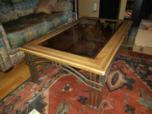Leather & Glass Coffee Table & Matching End Table