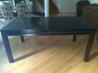 Solid wood dark brown wood table and 2 parson chairs