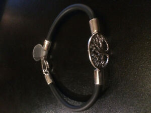 Hand Made Bracelet Silver925 Tree Black Rubber by Bijoux Viara