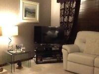 black modern glass tv stand
