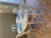 Antique rustic white dining table & chairs