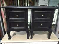 Shabby Chic Small Black French Style Bedside Tables
