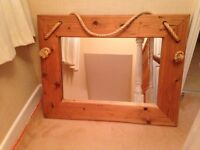 Large nautical style solid wood mirror