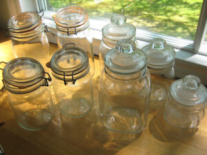 Sets of Thick Solid Glass  Kitchen canisters