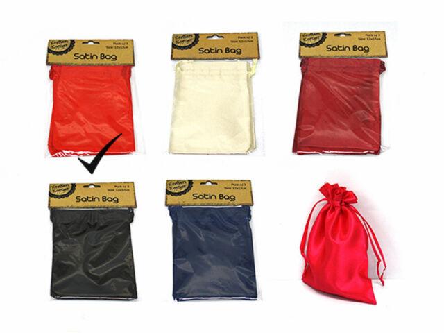 Satin Bag 3PK Red JM186280R Party Supplies Wedding Favor Drawstring Pouch