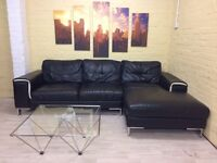 Jet Black Leather Corner Sofa