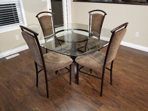Glass Dinning Kitchen Table Set w 4 Chairs