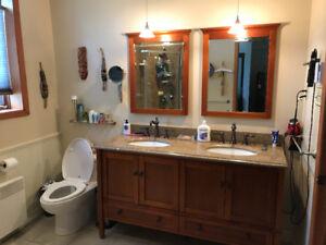 Comptoir  en granit deux lavabos