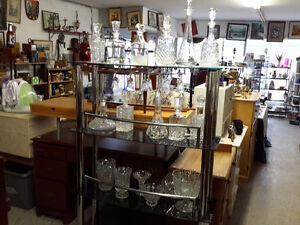 Large collection of crystal decanters and vases $40.00 on choice
