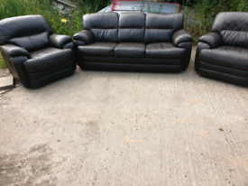 Brown leather 3 seater and 2 recliner chairs
