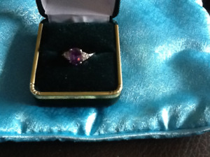 Amethyst and diamond ladies ring