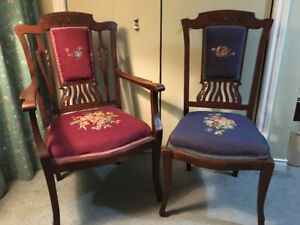 Victorian Lady's and Gent's parlour chairs.