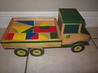 John Deere wooden dump truck with wooden blocks