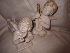 ANGELS ceramic cream tones,  beautiful and hard to find-garden