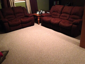 RECLINING MICROSUEDE SOFA AND LOVE SEAT/ COUCH SET