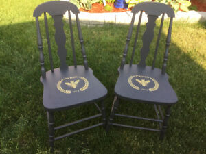 2 Painted Accent Chairs $60